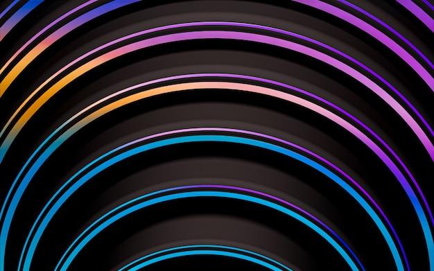 Ligne ondulée sombre et dégradé abstrait motif géométrique papier peint rendu 3d style design plat