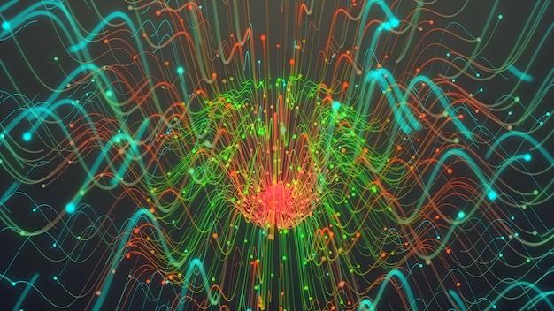 Ligne de particules colorées, lignes rougeoyantes et particules lumineuses dans une animation sombre