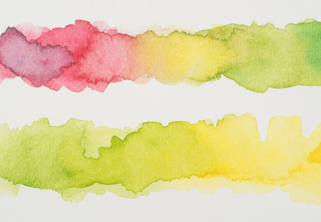 Lignes d'aquarelles colorées