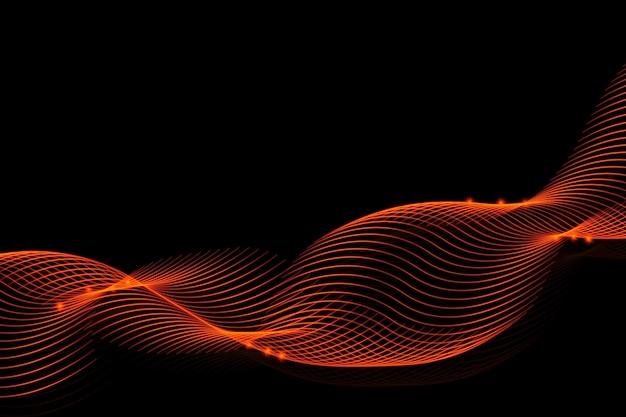 Lignes ardentes lumineuses sur fond noir pour la conception