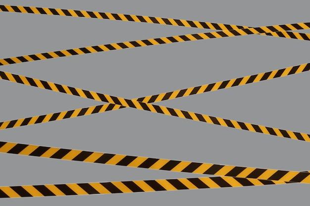 Les lignes d'avertissement noires et jaunes du ruban barrière interdisent le passage. barrière sur gris isolé. croix qui interdit la circulation. danger avertissement zone dangereuse n'entrez pas. concept pas d'entrée. espace de copie
