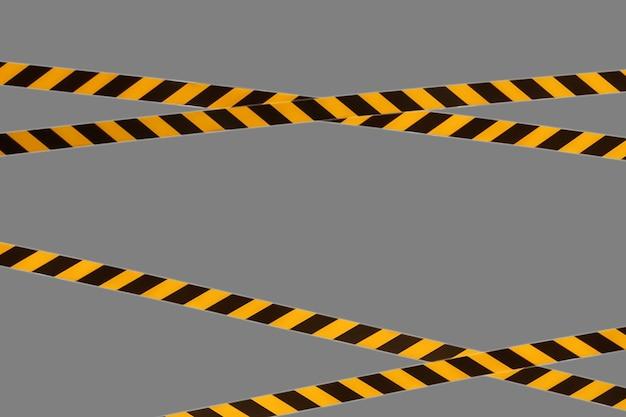Les lignes d'avertissement noires et jaunes du ruban barrière interdisent le passage. ruban de barrière sur isolat gris. barrière qui interdit la circulation. danger avertissement zone dangereuse n'entrez pas. concept de pas d'entrée. espace de copie