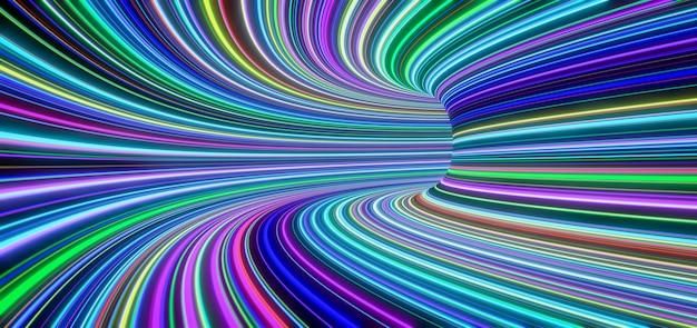 Des lignes colorées abstraites auto-lumineuses se déplacent rapidement dans le tunnel. rendu 3d
