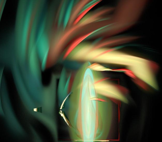 Lignes et courbes rondes abstraites colorées sur fond noir