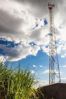 Lignes électriques à haute tension et tours électriques au coucher du soleil dans une ferme de campagne. poste de distribution d'électricité.