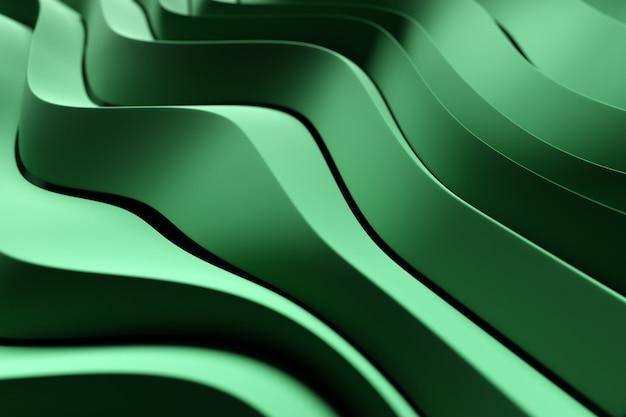 Lignes d'illustration 3d de la ligne verte. fond géométrique, motif de tissage.