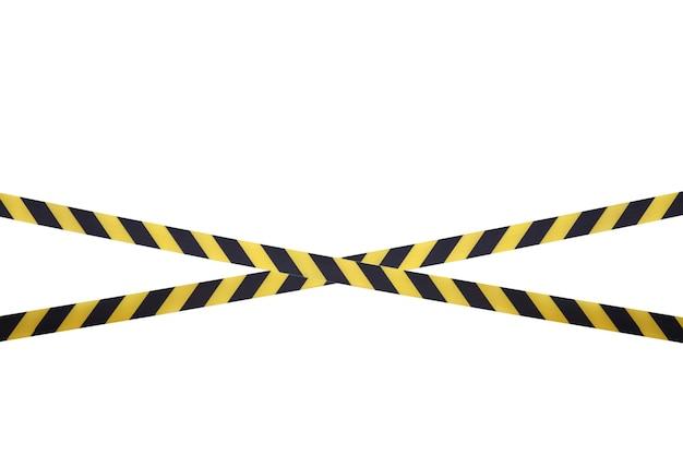Les lignes noires et jaunes du ruban barrière interdisent le passage. ruban de barrière sur isolat blanc. barrière qui interdit la circulation. ruban d'avertissement. danger avertissement zone dangereuse n'entrez pas. concept de non-entrée