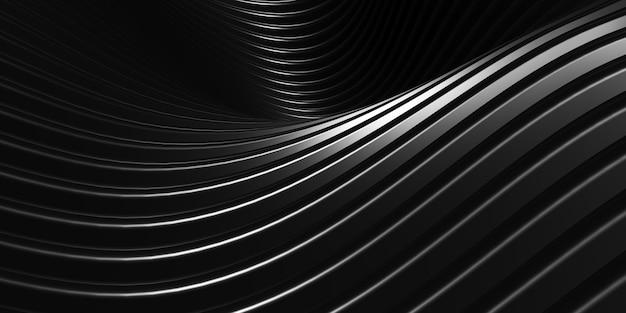 Lignes parallèles texture du tube en plastique noir forme déformée de la courbe noire