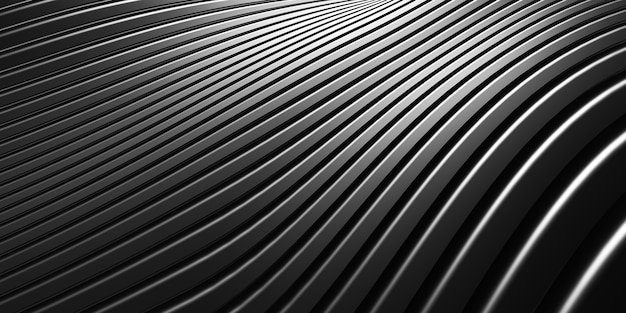 Lignes parallèles texture de tube en plastique noir forme déformée courbe noire illustration 3d abstraite moderne