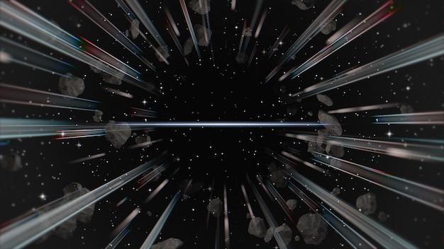 Lignes rétro dans la galaxie, abstrait. illustration 3d élégante et luxueuse des années 80 et 90