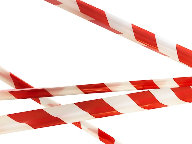 Les lignes rouges et blanches de la bande transversale de barrière interdisent le passage. ruban de barrière sur isolat blanc. barrière qui interdit la circulation. n'entrez pas dans le ruban d'avertissement de zone dangereuse. concept pas d'entrée. espace de copie
