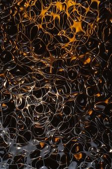 Lignes de vague d'or 3d sur fond noir ligne de vague dégradée en métal abstrait futuriste l