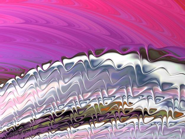 Lignes et vagues fractales texturées abstraites roses et argent, rendu 3d.
