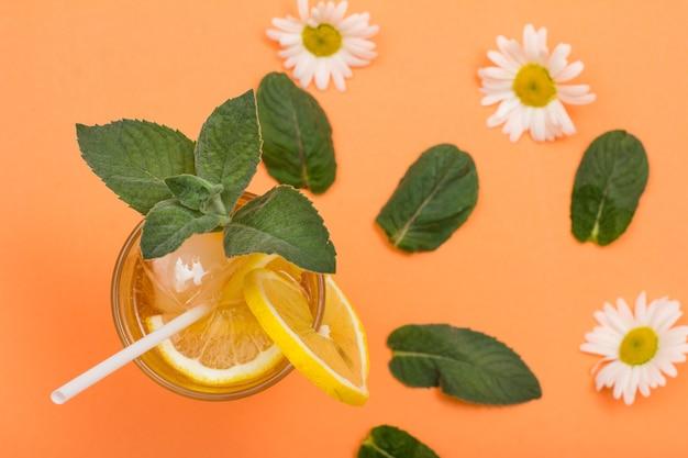 Limonade d'été rafraîchissante et froide avec de la glace et des tranches de citron dans un grand verre avec des feuilles de menthe et des fleurs de camomille sur fond couleur pêche. vue de dessus