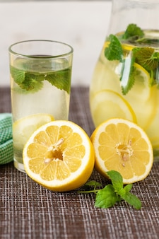 Limonade froide avec des glaçons et de la menthe.