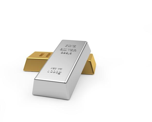 Un lingot d'argent repose sur un lingot d'or