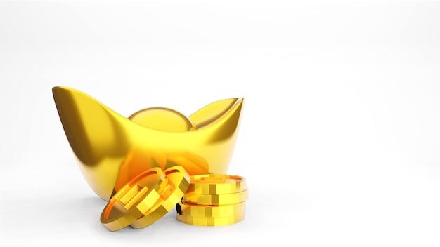 Lingot d'or chinois sur blanc