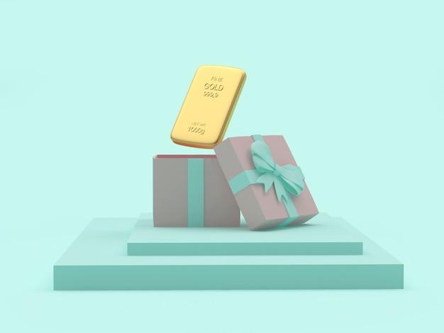 Lingot d'or dans une boîte cadeau sur un support