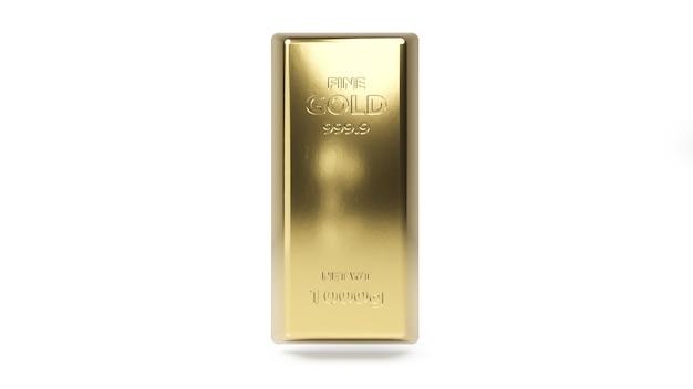 Lingot d'or isolé sur blanc.