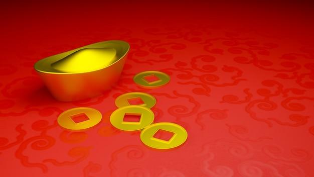 Lingot d'or et pièce de monnaie de la chine dans le nouvel an chinois