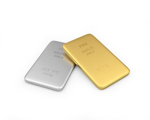 Le lingot d'or repose sur un lingot d'argent