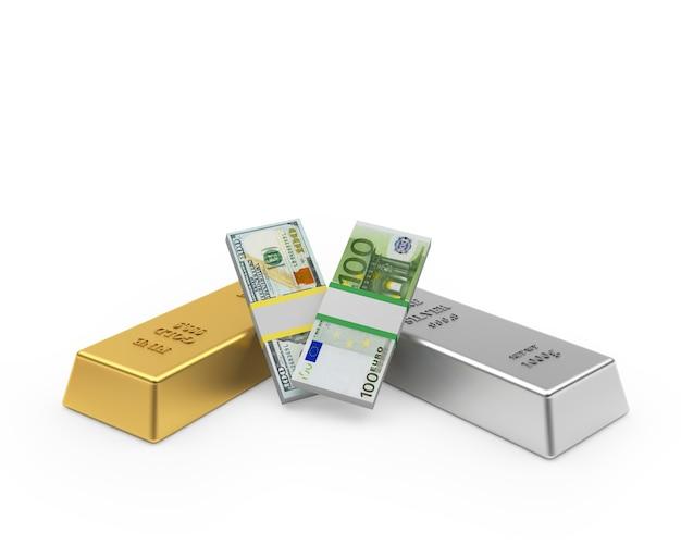 Lingots d'or et d'argent avec des billets en dollars et en euros 3d