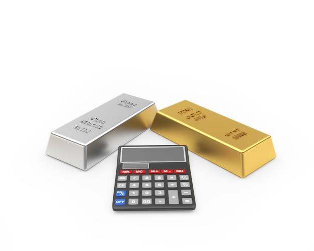 Lingots d'or et d'argent avec une calculatrice