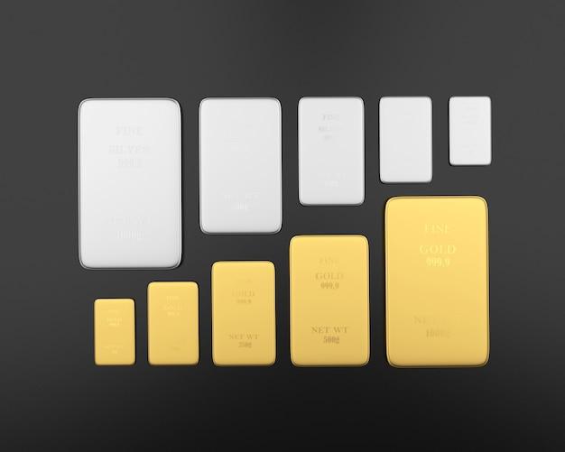 Lingots d'or et d'argent de différentes tailles ascendantes