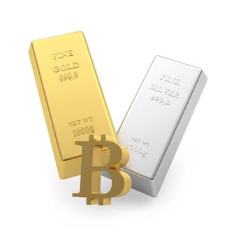 Lingots d'or et d'argent et signe de bitcoin