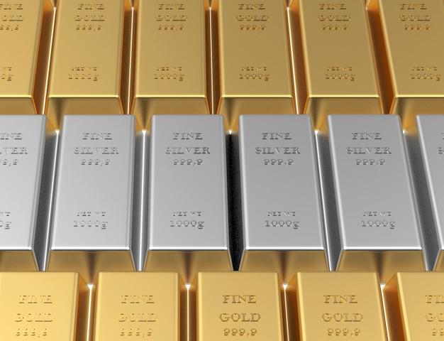 Les lingots d'or et d'argent sont empilés en rangées