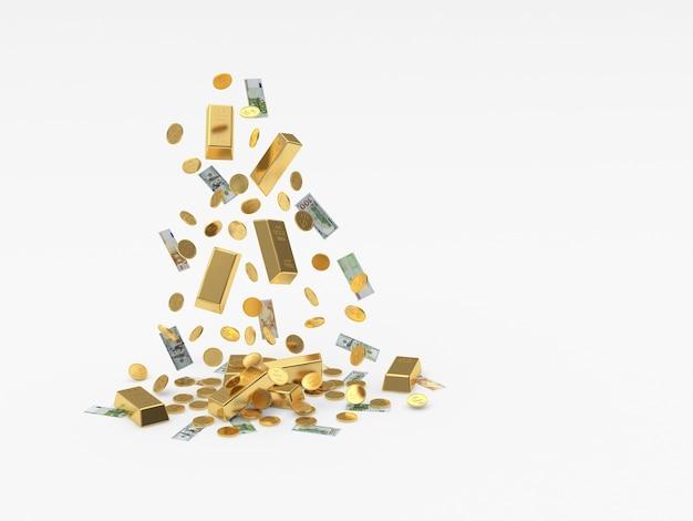 Les lingots d'or et l'argent tombent en tas