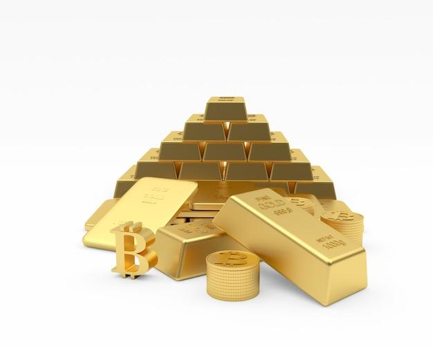 Lingots d'or dans une pyramide avec des pièces et signe bitcoin