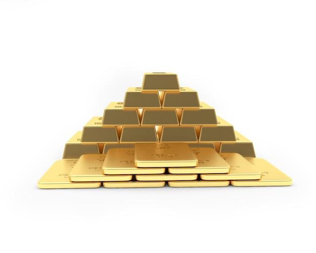 Lingots d'or empilés dans une pyramide