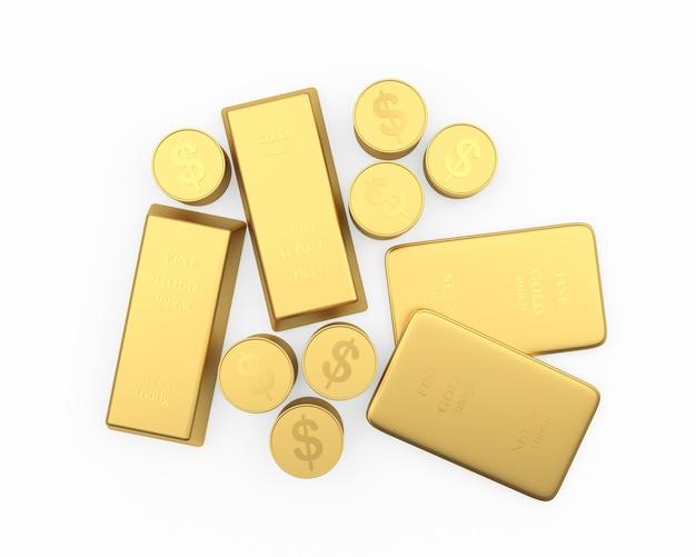 Lingots d'or et pièces en dollars