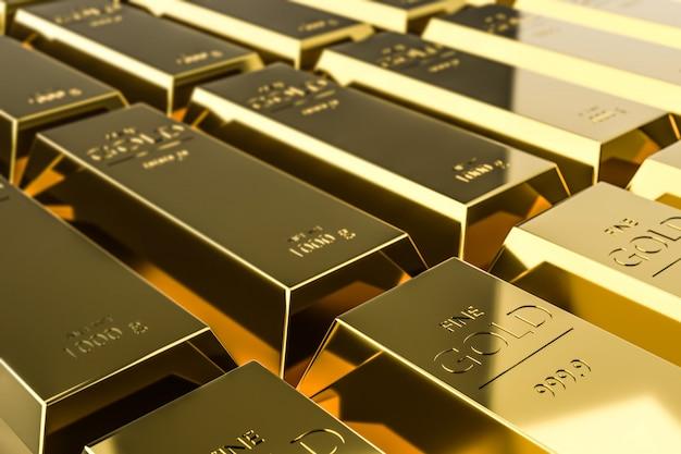 Des lingots d'or pur de la richesse provenant des bénéfices commerciaux des entreprises à croissance rapide.