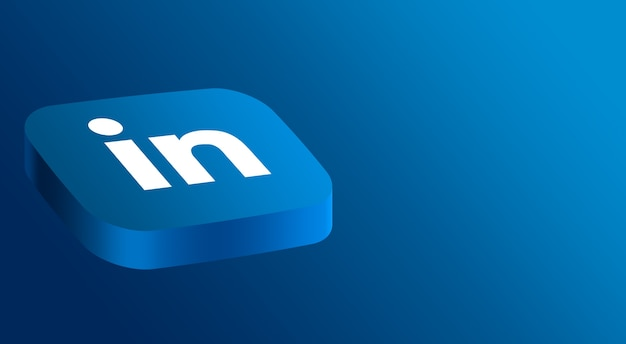Linkedin logo design minimal 3d