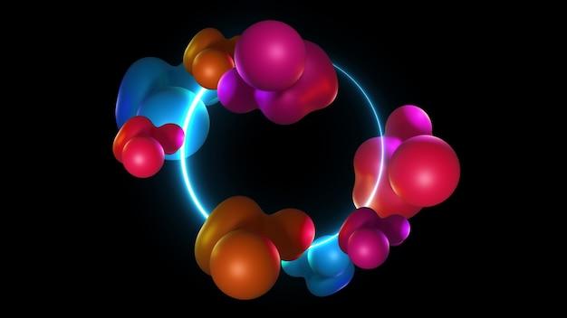 Liquide organique futuriste conçu. formes abstraites modernes dégradés, fond de cadre graphique, rendu 3d