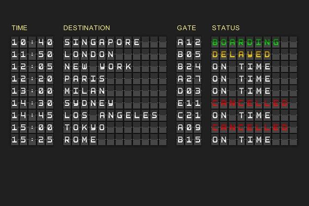 Liste des départs sur tableau mécanique noir