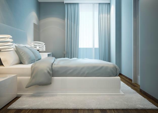 Lit blanc neigeux dans la chambre bleue avec tapis en laine blanche