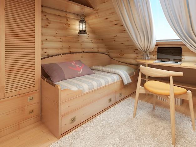 Lit et bureau dans la chambre des enfants dans une maison en rondins dans le grenier dans un style nautique