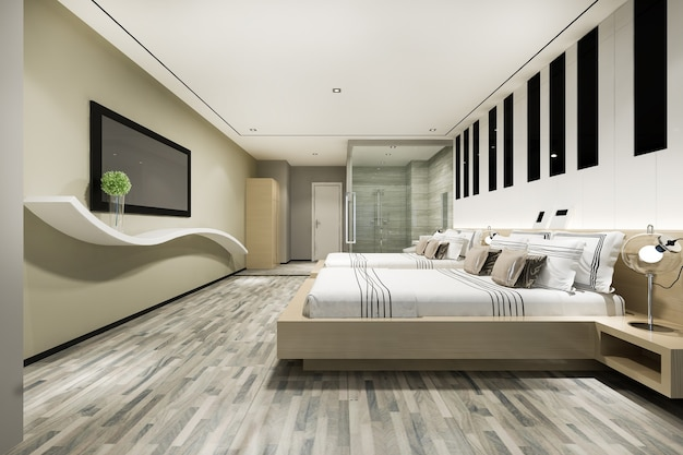 Lit jumeau de luxe moderne dans la suite et la salle de bain