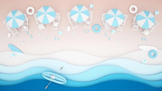 Lit de plage et équipement de jeux d'eau sur la plage