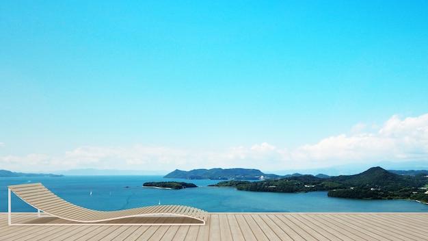 Lit de repos sur terrasse dans un hôtel ou une copropriété avec vue sur l'île et