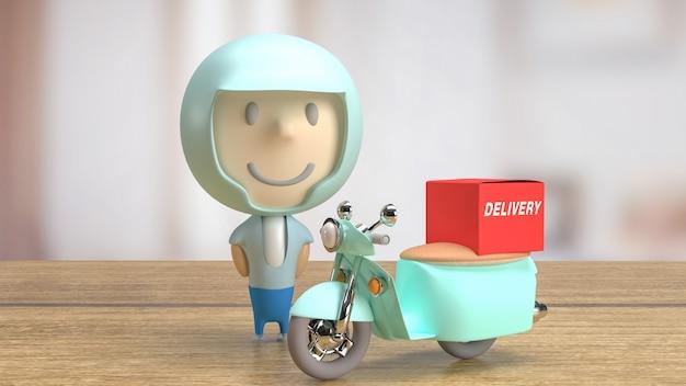 Une livraison de cavalier pour le rendu 3d du concept d'entreprise