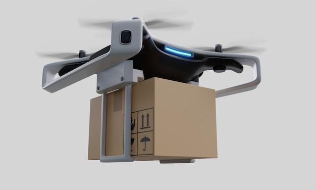 Livraison de drones sur fond blanc.