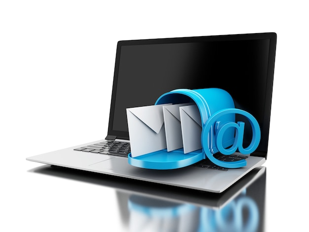 Livraison du courrier 3d à partir d'un ordinateur portable.