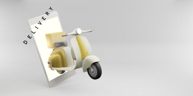 Livraison du produit via une application téléphonique avec une illustration 3d d'une moto à roues