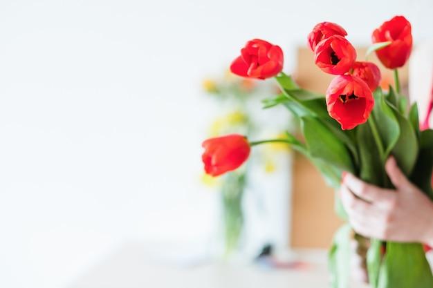 Livraison de fleurs. fleuriste tenant un bouquet de tulipes rouges. bouquet de fête de printemps