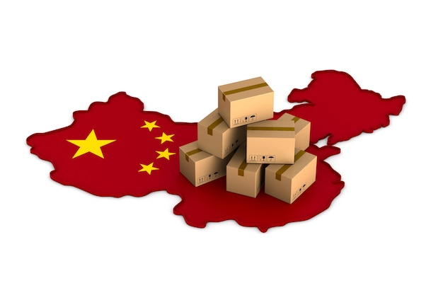 Livraison de marchandises depuis la chine. rendu 3d isolé
