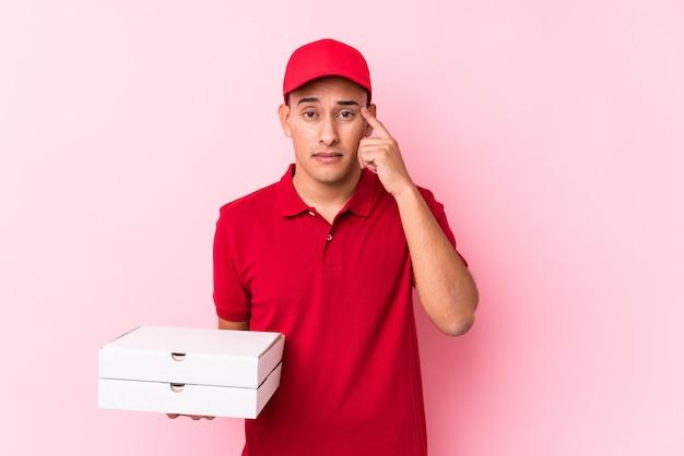 Livraison de pizza jeune homme latin isolé montrant un geste de déception avec l'index.
